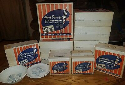 Vtg Marcrest Blue Spruce Pinecone 36 pc. Dinnerware Set Sealed in Boxes Atomic