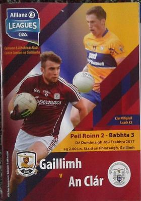 GAA Football - NFL Clare v Galway 26-02-2017 Programme with used Ticket