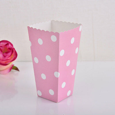 12pcs Popcorn Polka Dots Paper Boxes Treat Box Favour Bags Movie Birthday Party