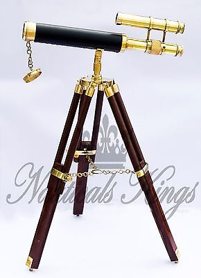 Antique Vintage Brass Leather Telescope Nautical With Wooden Stand Tripod Scope