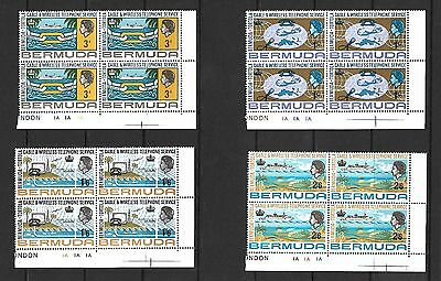 Bermuda 1967 QEII Telephone service set MNH blocks of 4 (5264)