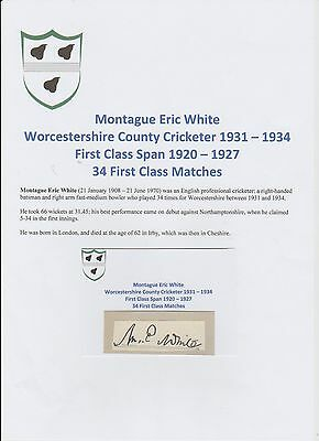 Montague White Worcestershire Cricketer 1931-1934 Rare Orig Hand Signed Cutting