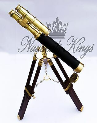 Vintage Nautical Brass Telescope Tripod Marine Collectible Spyglass Antique