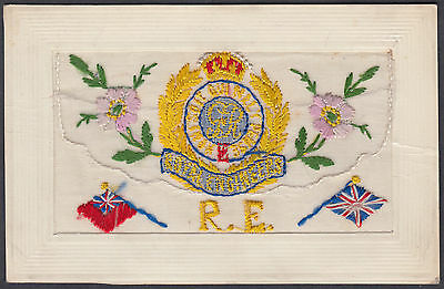 WW1 Royal Engineers / RE Embroidered Silk Postcard