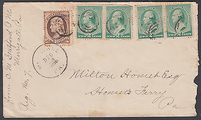 1889? USA 10C brown + 2c green pairs nice old Multi-franking Cover