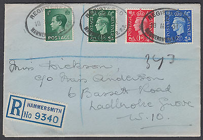 1937 KGVI Definitives FDC;Hammersmith Reg'd Label/Oval;+KEVIII 1d;Mixed Franking