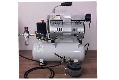 Silent 9L Oil Free Airbrush Compressor With Air Filter Regulator