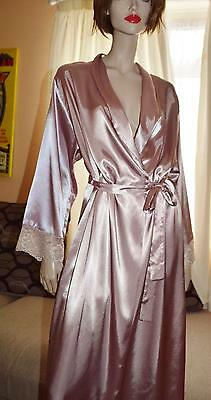 Silky Glossy wet look dusky pink Satin VTG Peignoir Dressing Gown uk 14