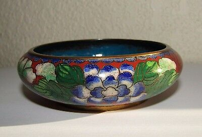 Vintage Chinese Cloisonne Brass Small Bowl 3.5""