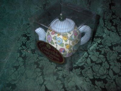 Dritz Collectible Pin Cushion-Floral/stripe Teapot Pin Cushion-New In Package