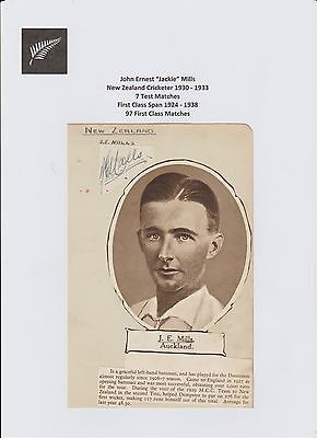 Jackie Mills New Zealand Test Cricketer 1930-1933 Very Rare Hand Signed Cutting