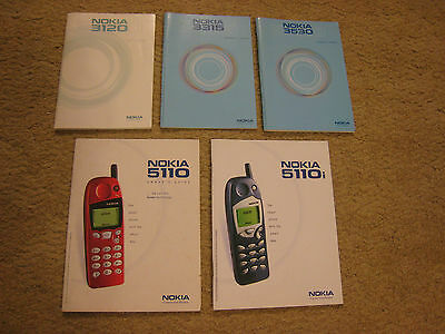 Old Nokia Mobile Phone User's Guides x 5 - 3120 - 3315 - 3530 - 5110 - 5110i