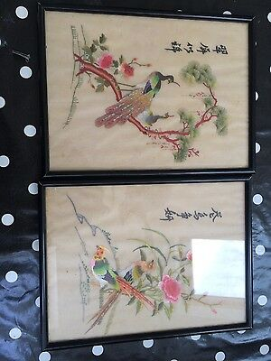 Pair of antique chinese silk embroidery panels in lacquered frames