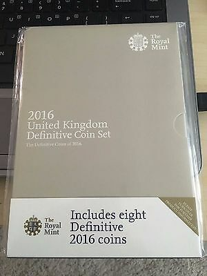 2016 UK DEFINITIVE ANNUAL EIGHT (8) COIN SET. Never released £1 and 50p Shield