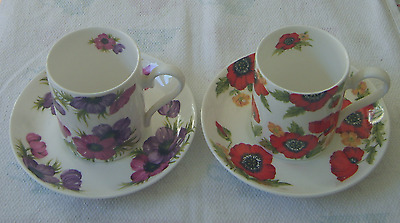 Roy Kirkham TWO China Cup & Saucer Sets 'Monet' & 'Anemone' painted Vintage 1992