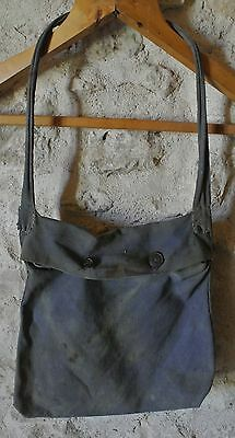 Vintage French Work Wear Tool Lunch Bag Faded Blue Cotton Circa 1930 Artisan