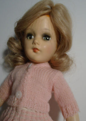 """Vintage 1950s 14"""" Hard Plastic Mary Hoyer Doll Wearing Knit Outfit"""