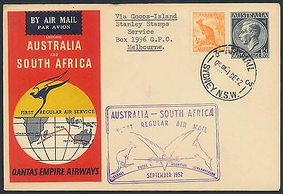Qantas Airways 1952 illustrated First Flight Cover - Australia to Cocos Island