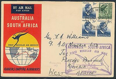 Qantas Airways 1952 illustrated First Flight Cover - Australia to Nigeria