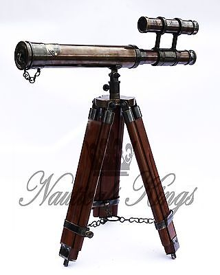 Antique-Brass-Leather-Telescope-Nautical-With-Stand-Wooden-Tripod-Vintage-Gift
