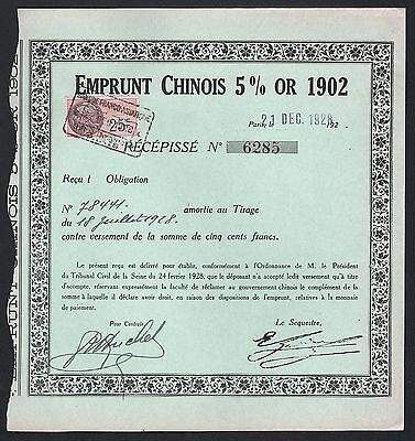 1928 China: Chinese Gold Loan - Emprunt Chinois 5% Or 1902