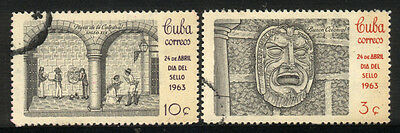 1963 1CUBA COMPLETE SET OF 2 USED STAMPS (Michel # 843-844)