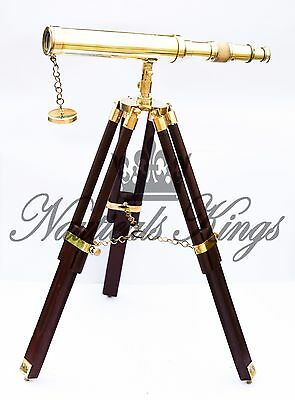 Brass Telescope Adjustable Tripod Antique Nautical Telescope Marine Spyglass