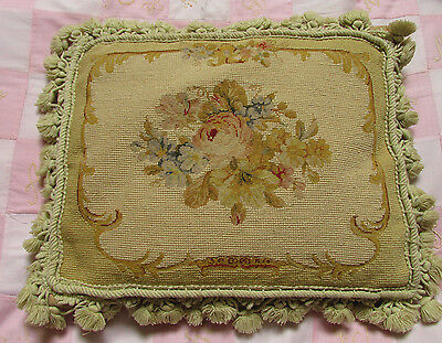 vintage tapestry cushion Aubusson style + feather pad 40cm x 30cm muted colours