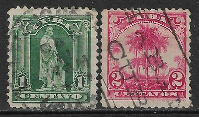 1899 1CUBA SET OF 2 USED STAMPS (Michel # 1,2)