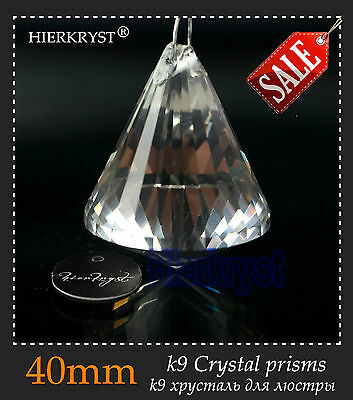 1 Clear Chandelier Glass Crystals Lamp Prisms Parts Hanging Drops Pendants 40mm