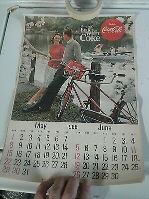 1965-66 Coca-Cola Partial Calendar Coke Collectible