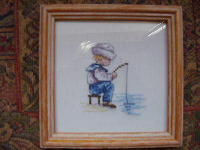 "Completed Crosstitch ""Gone Fishing""  All Our Yesterdays"