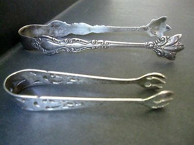 ANTIQUE VINTAGE 2  SUGAR TONGS - One Sterling Silver + 1 Silver Plate