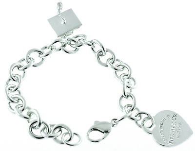 Tiffany & Co Heart Tag Charm Bracelet w Graduation Cap Charm Sterling Silver