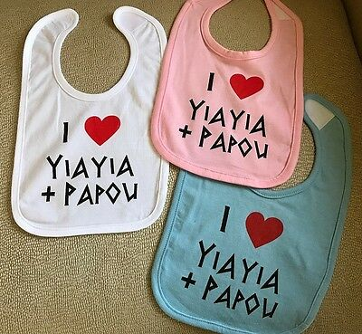 "ONE BIB ""I LOVE Yiayia + Papou"" Greek Infant Child Feeding Bib See Colors NWT"
