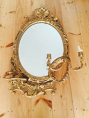 Stunning Late 1800's large Gilt Gesso Girandole Wall Mirror Sconces