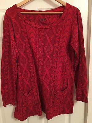 Ladies Size 14 Pocket Jumper From Next In Red With Faux Knitted Pattern