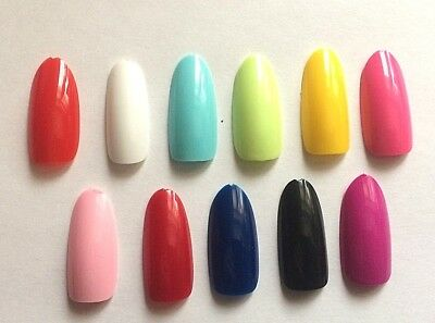 20, 100 Or 500 Strong Oval Round Full False Nails Choice Of Colors Uk Seller