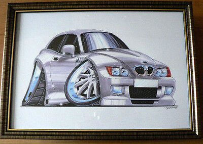 326 BMW Z3 Coupe in Silver   Framed Print A4 Caricature Present Gift