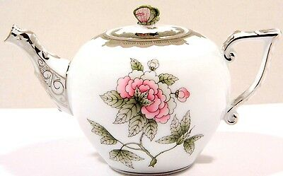 Herend Queen Victoria Gray Miniature Teapot,butterfly Lid End,brand New Boxed