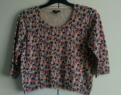 H&M floral jumper 3/4 sleeves size medium