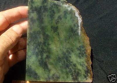 Siberian Jade Rare Dendritic Multi Green End Cut Slab 308 Grams- 10.8 Oz Russia