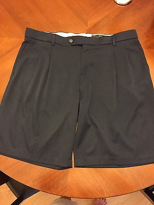 Men's Greg Norman Shorts Navy Blue 100% Polyester Pleated Front Size 38 EUC