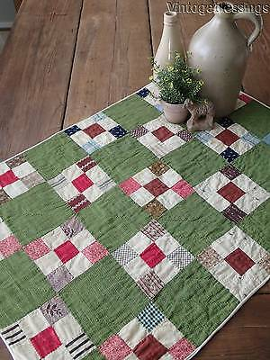 Wonderful EARLY Prints ANTIQUE Green Crib or Table QUILT 30x22""