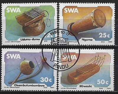 SOUTH WEST AFRICA 1985 Sc#544-7 ENDEMIC MUSICAL INSTRUMENTS COMP USED SET 0258