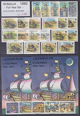 Somalia 1992 Full Year Set - Stamps Yv#373/98 + Bf26/26a - Unused MNH Luxe..S382