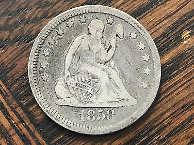 1858 Seated Liberty Quarter Dollar 25c Silver Coin