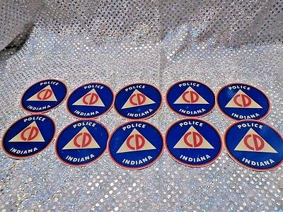 10 Indiana Police Civil Defense Stickers (5D53)