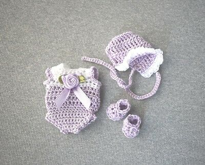 """4 """" In Inch Art OOAK Baby Doll Clothes Clothing New 4-piece Lilac & White Outfit"""