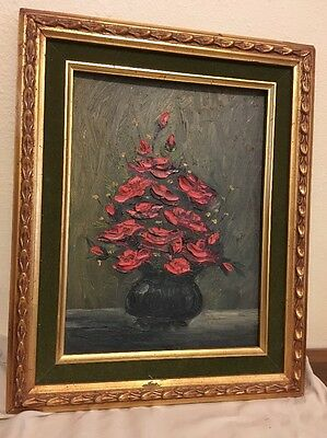 Oil Painting On Canvas Red Roses In Vase Framed Not Signed
